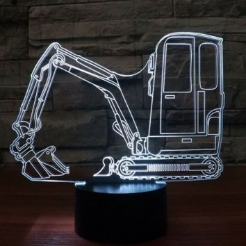 Mini Excavator 3D Lamp 8 Changeable Colors big size [FREE SHIPPING]