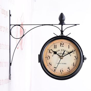 Vintage NY Grand Central Iron Side Wall Clock