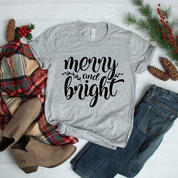 Merry and Bright Hipster Tumblr Tee Christmas Holiday Graphic Tops Casual Stylish Grunge Vintage t shirt Outfits Drop Ship