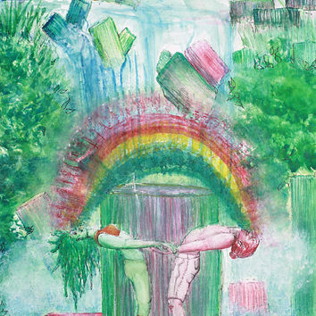 "Poster Art Watercolor Painting Visionary Art Rainbow Painting ""Clear Skies Clear Waters Mandala""  Prints Waterfall Art Tourmaline Meditation"
