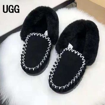 UGG Winter Fashion Women Leather Wool Boots Shoes Black