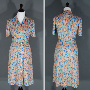 Vintage Floral Print Dress / Belted  / Blue Green Orange / 1970's