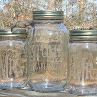 Personalized / Unity Sand Set / Toasting Glasses / Mason Jars / Mr. and Mrs./ Established / Sand Ceremony / Choice of Font