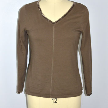 J JILL brown Velvet Trim V-Neck Shirt Long Sleeve Size Medium