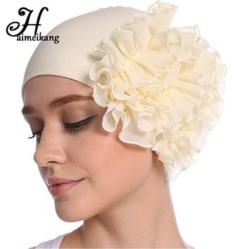 Autumn Winter Turban Hair Bands Indian Hat Chiffon Flower Chemo Cap Headwrap  Elastic Headbands Hair Accessories