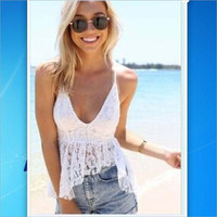 Hollow Out Summer Backless V-neck Deep V Spaghetti Strap Lace Sexy Hot Sale Tops = 5895668033
