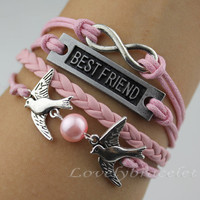 Pink pearl bird bracelets, the best friendship bracelets, infinity karma bracelet, sweet gift for girlfriend and boyfriend