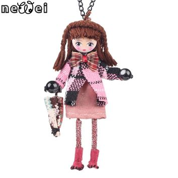 Bonsny Lovely Doll Necklace Pendants Long Chain French Girls Statement Collar Cloth New Choker Fashion Jewelry Women Accessories