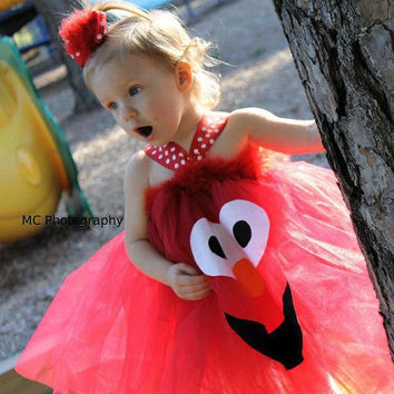 Elmo tutu dress costume - girls tutu costume, elmo tutu, tutu dress, birthday tutu, dressup, halloween tutu costume