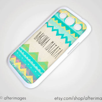 Hakuna Matata Pastel Spring Galaxy S3 Case Samsung SIII New Cell Hipster Lion King Tribal Silicone