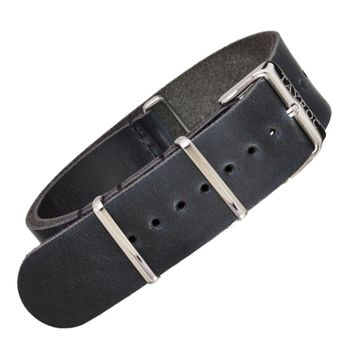 22mm Black Leather NATO - Silver Buckle