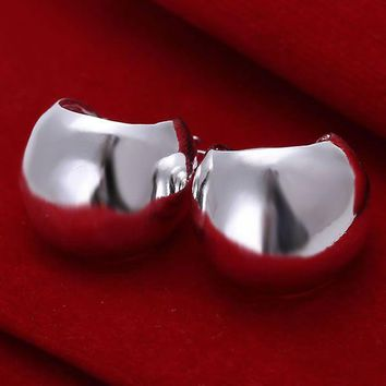 Free Shipping!!Wholesale 925 jewelry silver plated Earring,silver plated  Fashion Jewelry,Smooth Egg Earrings SMTE052