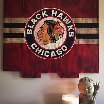 Chicago Blackhawks Large Wooden Stained Flag; Handpainted; Chicago Flag; Ice Hockey Decor; Mancave; Wood Sign; Wall Art; NHL; Retro Vintage