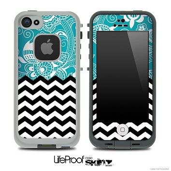 Mixed Turquoise Paisley and Chevron Pattern Skin for the iPhone 5 or 4/4s LifeProof Case