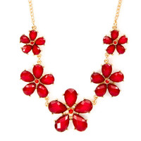 Gem Flowers Bib Necklace