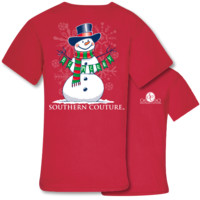 Southern Couture Preppy Christmas Be Merry Snowman Holiday T-Shirt
