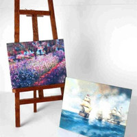 Dollhouse Miniature Artist Easel with Two Painting Replicas