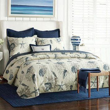 Queen size 100-Percent Cotton 3-Piece Bedspread Quilt Set Ocean Beach Sea Shells Marine Starfish