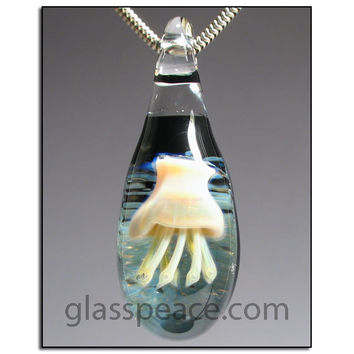 SALE - Glass Jellyfish Jewelry lampwork pendant necklace focal - Glass Peace glass jewelry (5822)
