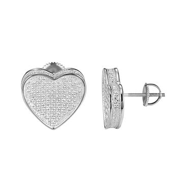 Sterling Silver Heart Shape Earrings Simulated Diamonds Screw On 16mm Classy