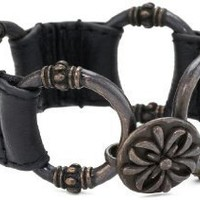 NINE WEST VINTAGE AMERICA Black Leather Bracelet: Jewelry: Amazon.com