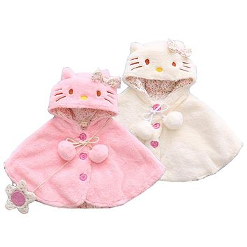 Baby Cloak Newborn Girls Winter Ticking Hooded Coat Jacket Infant Cartoon Outerwear Baby Princess Party Cape Clothing
