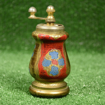 Vintage Handpainted Pepper Mill Rare Grinder, Black Pepper Rustic Home Decor, Retro Kitchen Decoration, Gilded Mill