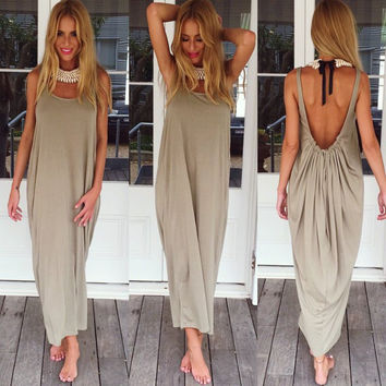 Sexy Summer U Halter Spaghetti Strap Maxi Dress Women Slim Evening Party Beach Bohemian Long Dress Hot