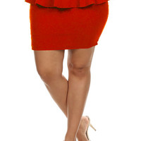Peplum Solid Color Miniskirt.- Red -  Plus Size - 1X - 2X
