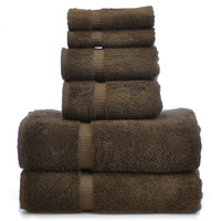 Luxury Hotel & Spa Towel 100% Genuine Turkish Cotton 6 Piece Towel Set - Cocoa - Dobby Border