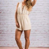 Just Can't Wait Romper, Cream