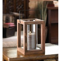 Wood Frame Hurricane Candle Lantern
