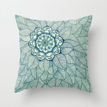 Emerald Green, Navy & Cream Floral & Leaf doodle Throw Pillow by micklyn