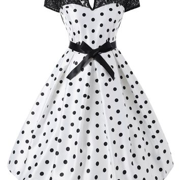 1950s Lace Polka Dot Belted Dress