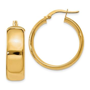 14k Solid Gold 21 mm Hoop Earrings