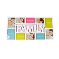 """28.75"""" White Dual-Sized """"Family"""" Photo Picture Frame Collage Wall Decoration"""