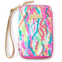 Lilly Pulitzer Pink Multi-Print Tiki Palm iPhone 6 Wristlet