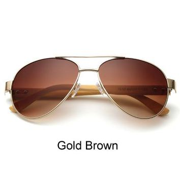 Ralferty Pilot Bamboo Sunglasses Women Men Gradient Mirrored Sun Glasses Anti UV Spectacles