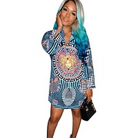 Versace New fashion human head pattern print long sleeve dress women