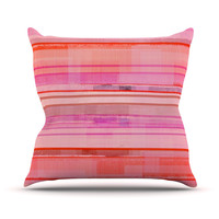 "CarolLynn Tice ""Starwberry Shortcake"" Pink Stripes Throw Pillow"