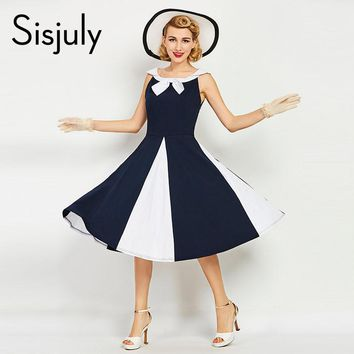 Sisjuly women vintage dress 1950s nautical style patchwork summer retro dress navy bowknot sailor collar female vintage dresses