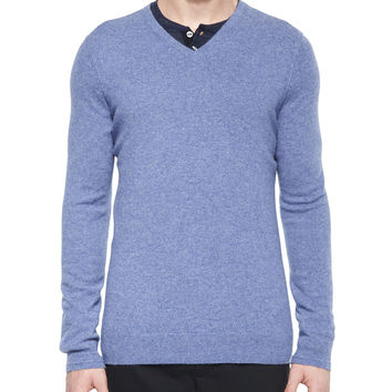 Cashmere V-Neck Sweater, Light Blue, Size: