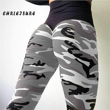 CHRLEISURE Leggings for Women Casual Sexy Camouflage Printing High Waist Leggings Polyester Slim Large Size Exercise Leggings