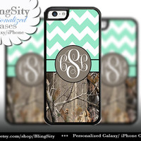 Monogram iPhone 5C 6 6 Plus Case iPhone 5s iPhone 4 case Ipod 4 5 Touch case Real Tree Camo Mint Fat Chevron Zig Zag  Personalized