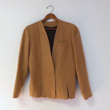 Vintage Tan Camel 100% Wool Blazer Fall Jacket 80s 90s does 40s 50s Travel Suit Coat Cropped Small Medium Equestrian Oxford Preppy