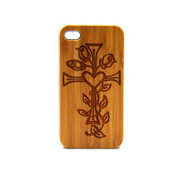 Real Wood iPhone 6 Plus Case, cross with flower iPhone 6 Plus Case, Wood iPhone 6 Plus Case, Wood iPhone Case,