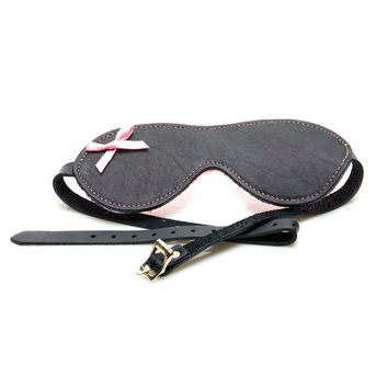 Grey Leather Blindfold