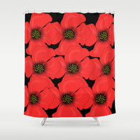 Poppies Shower Curtain by Veronica Ventress