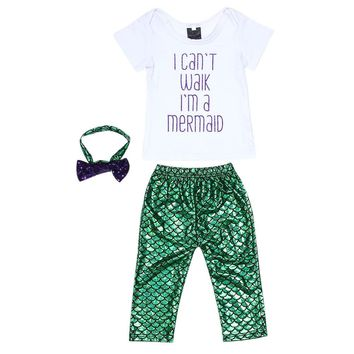3pcs Baby Set Baby Girl Clothes Kids Clothing Set Letter Printed Tops T-shirt+Mermaid Leggings Shorts Pant+Headband Outfits Set