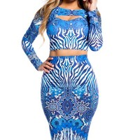 Blue Zebra and Aztec Print Long Sleeve Crop Top and Midi Skirt Two Piece Set